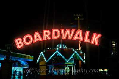 Boardwalk sign night